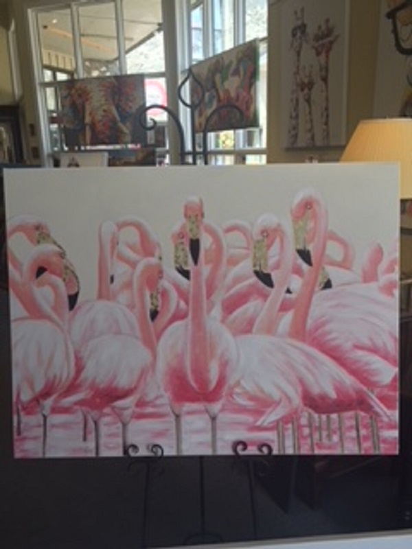 Quirky Art - Flamingos